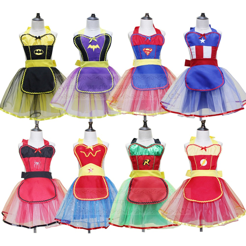 Superhero Costume Aprons Supergirl Cosplay Fantasy Kids Princess Mario Dresses Girls Halloween Costume For Party Dress