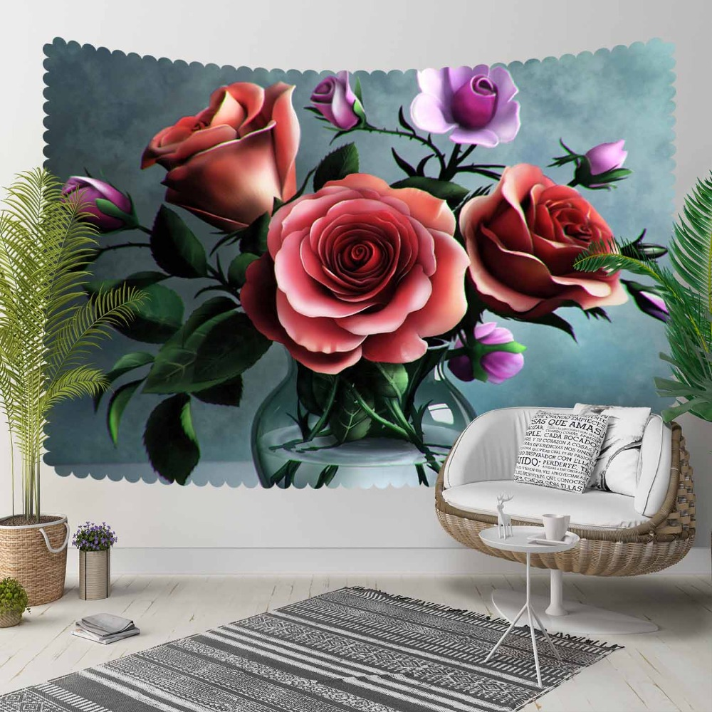 Else Red Roses Green Leaves in Vase Purple Flowers 3D Print Decorative Hippi Bohemian Wall Hanging Landscape Tapestry Wall Art|Decorative Tapestries| |  - title=