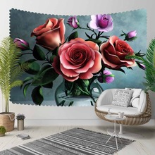 Else Red Roses Green Leaves in Vase Purple Flowers 3D Print Decorative Hippi Bohemian Wall Hanging Landscape Tapestry Wall Art