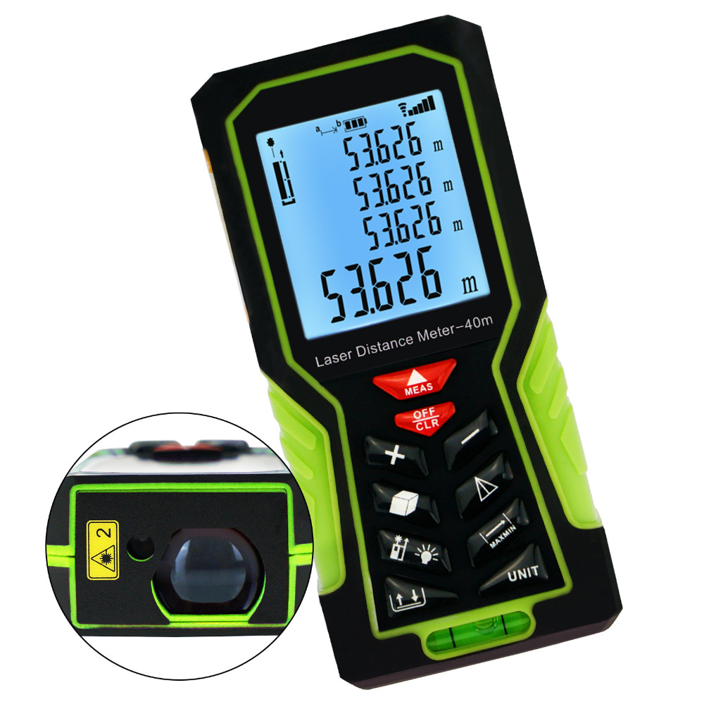 40m (131ft) Digital Laser Distance Meter Handheld Range Finder with Backlight and Spirit Bubble Level +/-1mm accuracy drill buddy cordless dust collector with laser level and bubble vial diy tool new