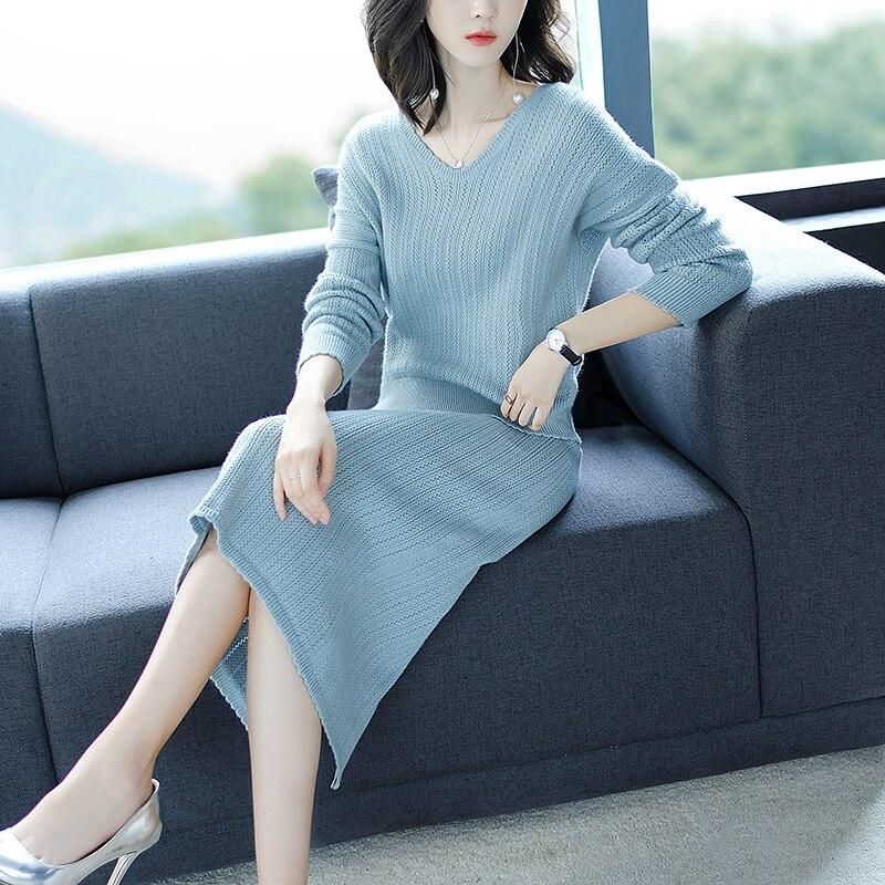 2018 осень и зима новый отель стиль Женский костюм Корейская мода вязать полудлина юбка двухсекционный костюм