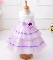 Girls Wedding Flowers Layered Dress Kids Frock Designs Birthday Party Tulle Organza Dresses Robe Fille For