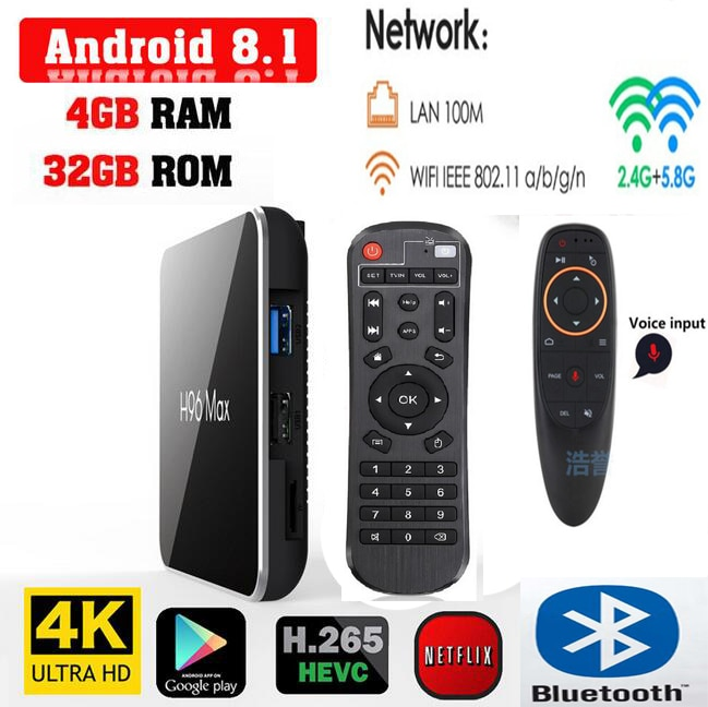 H96 Max x2 amlogic s905x2 android 8.1 tv box 4G 64G/32G 2G 16G avec bluetooth google voice remote