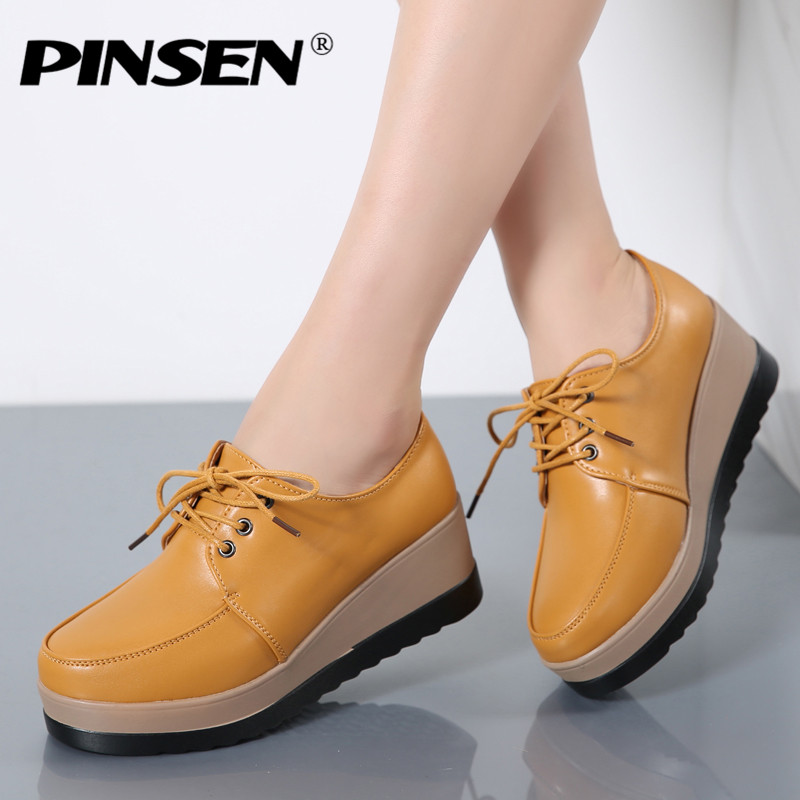 PINSEN 2017 Winter Women Flat Platform Shoes Genuine Leather Lace Up Ladies Flats Creepers Moccasins Oxford Shoes For Woman pinsen women flat platform shoes woman moccasin zapatos mujer platform sandals slip on for ladies shoes casual flats moccasins