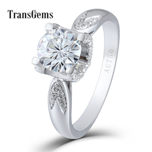 Transgems 1 Carat 6.5MM F Color Lab Grown Moissanite Round Brilliant Cutting 18K White Gold 750 Engagement Ring for Women