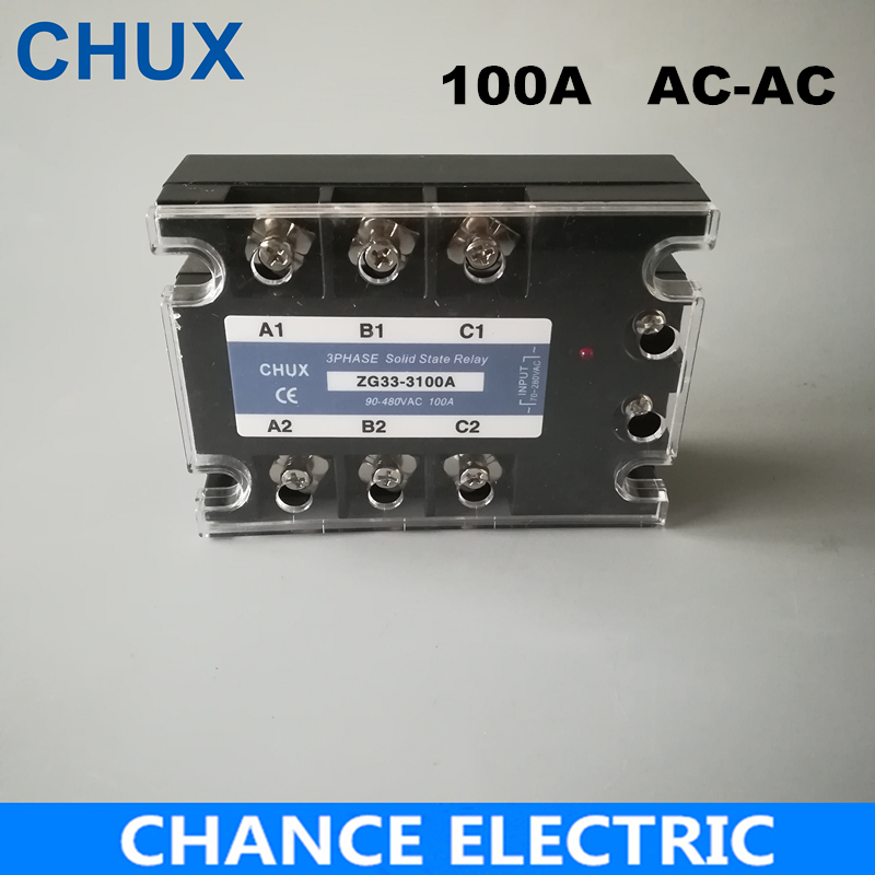Solid State Relay 100A AC control AC 70-280VAC to 90-480VAC Free shipping SSR 100AA 3phases in a free state