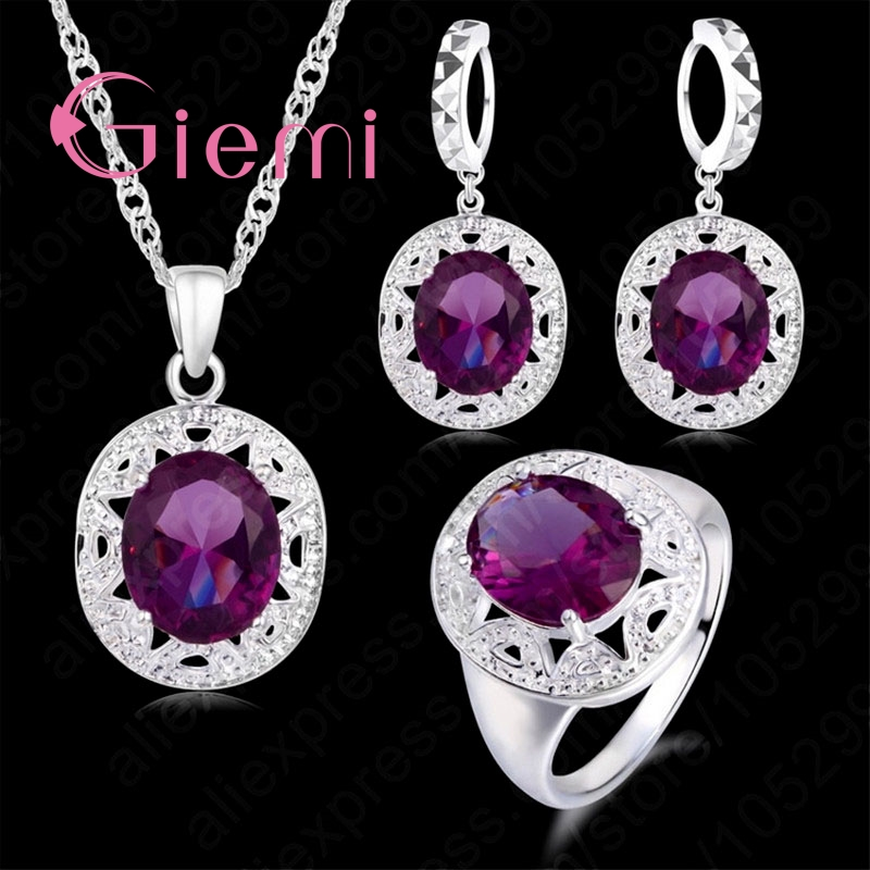 Trendy Jewelry Sets Purple Necklace Shiny Drop Eearrings Rings Lovers 925 Sterling Silver Crystal