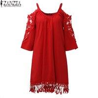 2017 ZANZEA Oversized Women Summer Off Shoulder Spaghetti Strap Lace Crochet Hollow Out Casual Party Mini