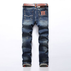 Image 2 - Hot Sale Fashion Men Jeans Brand Straight Fit Ripped Jeans Italian Designer 100% Cotton Distressed Denim Jeans Homme