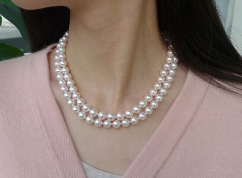 double strands 8 7.5 mm Akoya white round pearl necklace1819clasp>>>girls choker necklace pendant Free shipping