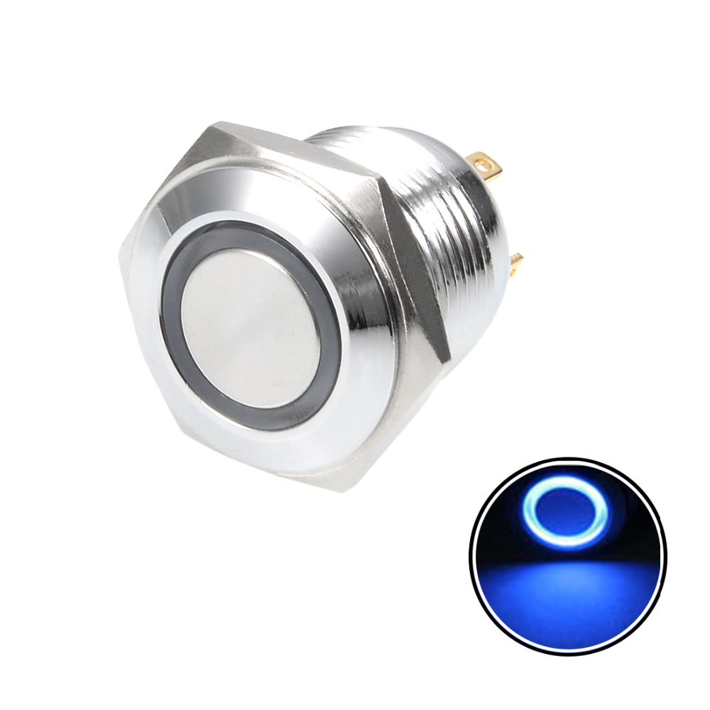 UXCELL 1PCS Momentary Metal Push Button Switch 16mm Mounting Diameter 3A 1NO 3V Blue LED Light Terminals or 2 Screw Flat Head