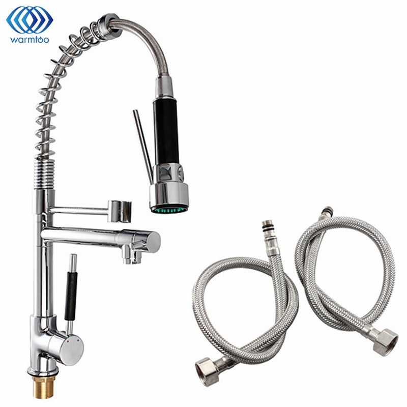 Kitchen Cold & Hot Water Tap Water Tank Pull Out Spring Single Handle Chrome Brass Spray Inlet Pipe Kitchen Faucet Space 1 2 built side inlet floating ball valve automatic water level control valve for water tank f water tank water tower