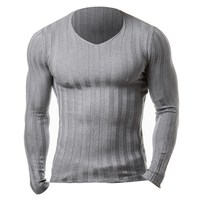 2017 New Winter Brand Clothing Mens Long Sleeve Fitness Knitted T Shirt Homme Bodybuilding Muscle Gyms