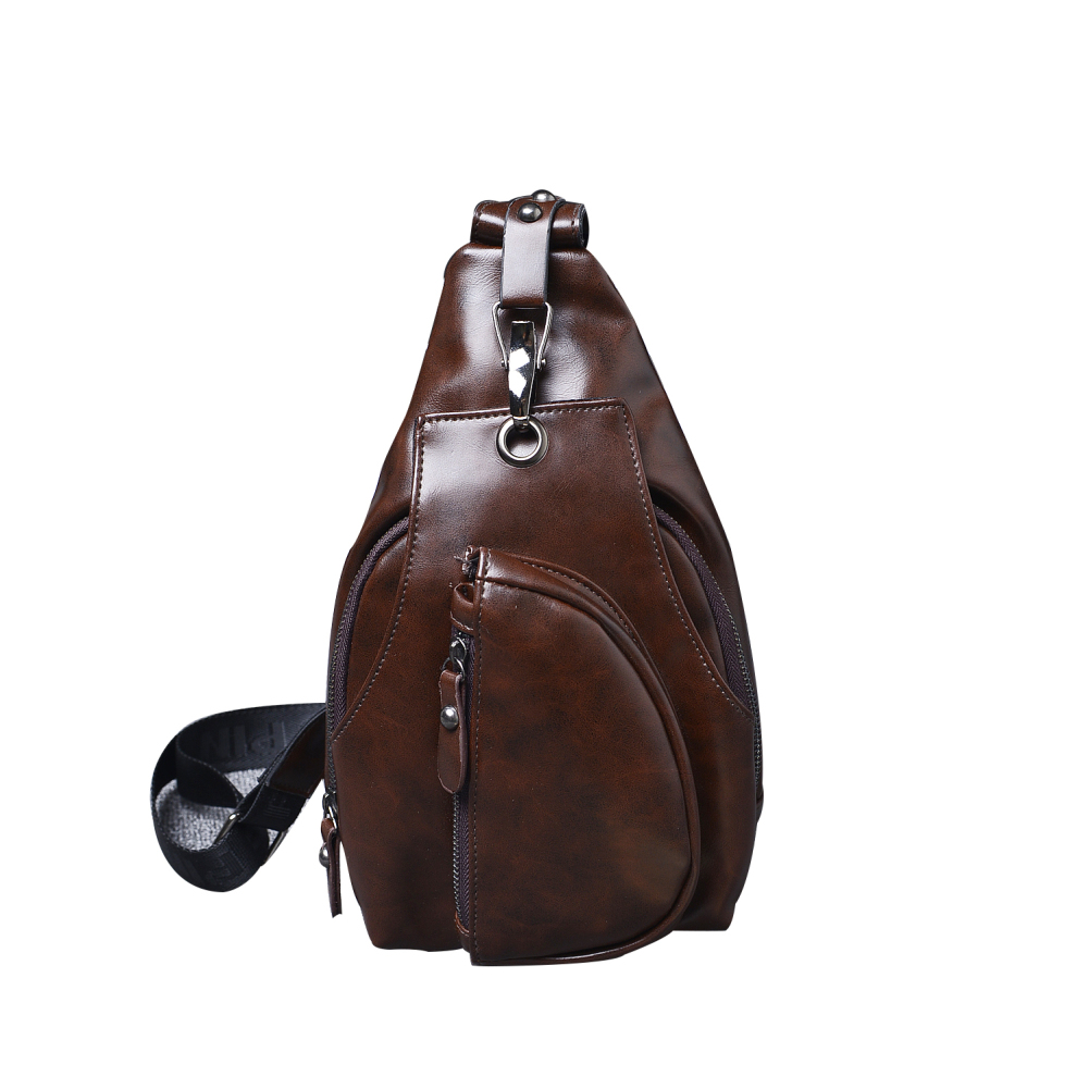 Vintage Men Faux Leather Zipper Crossbody Chest Sling Bag with Adjustable Strap casual canvas satchel men sling bag