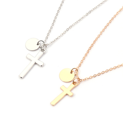 Fashion Simple Cross Round Alloy Pendant Chain Necklace Women's Jewelry Gift