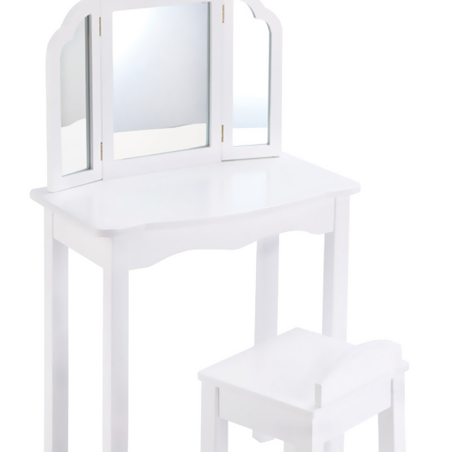 GuideCraft Expressions Vanity & Stool: White guidecraft dress up cubby center white