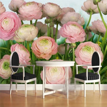 Romantic rose flower TV background wall custom high-end mural factory wholesale wallpaper photo