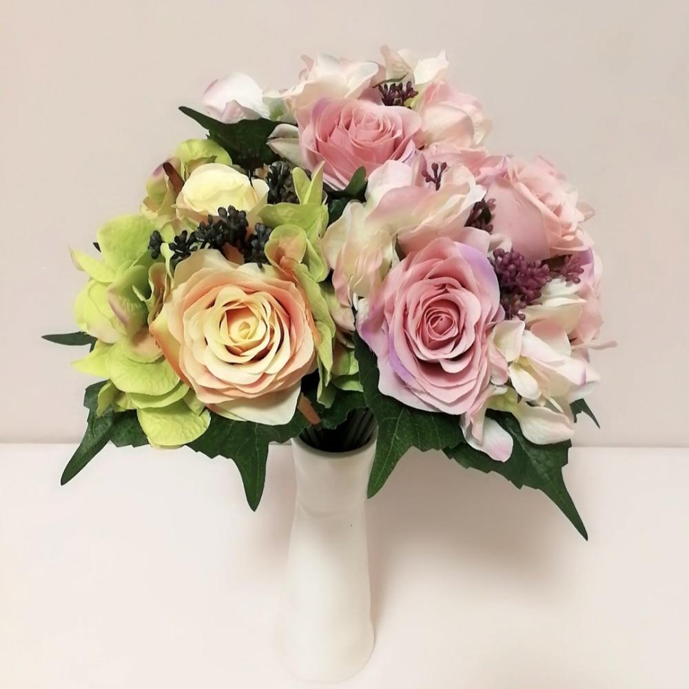 9pcs / los Högkvalitativa konstgjorda blommor Rose Hydrangea - Semester och fester
