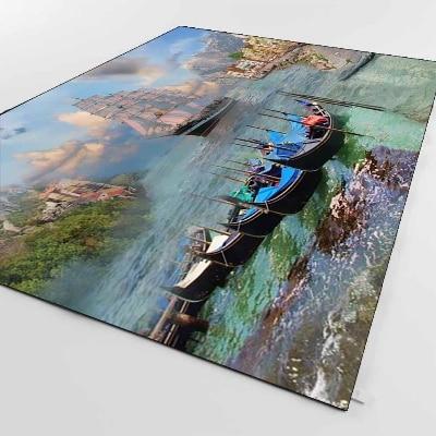 Else Sea Side Landscape View Sandal Boat 3d Print Non Slip Microfiber Living Room Decorative Modern Washable Area Rug Mat