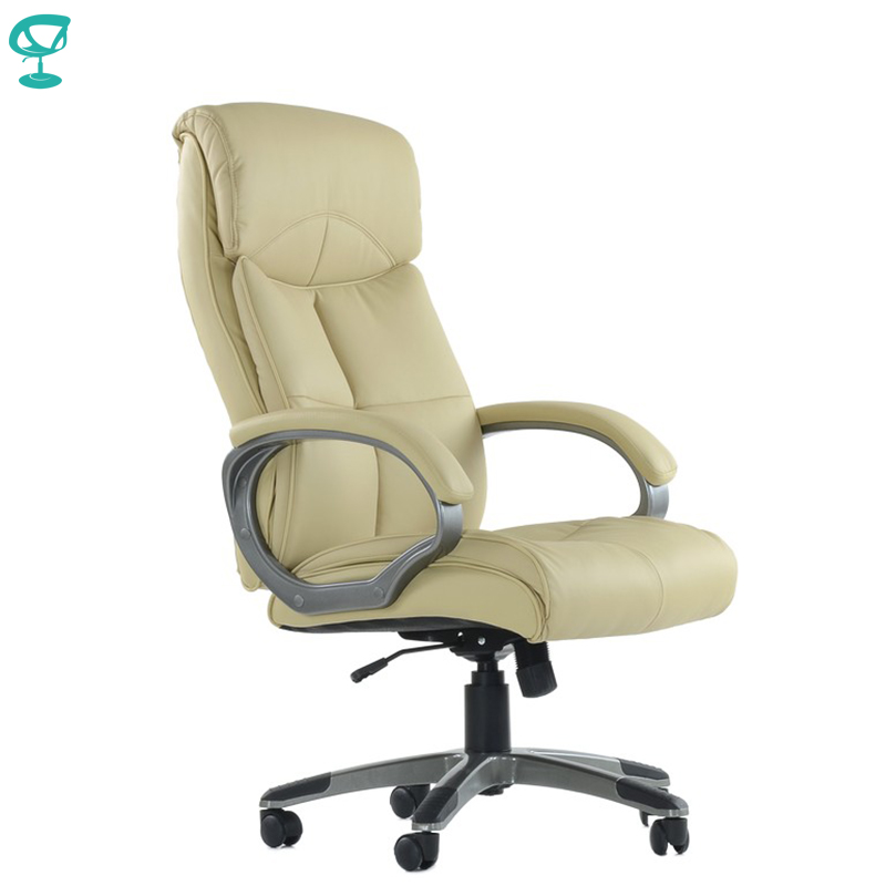 K19PuBeige Office Chair Barneo K-19 Leather High Back Plastic Armrests With Gas Lift Roller Free Shipping In Russia
