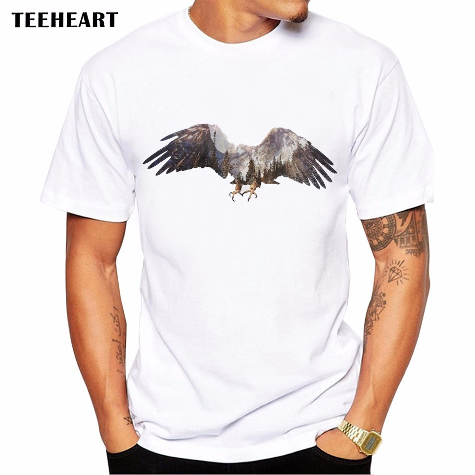 Design t shirt graphics online - 2017 Summer Flying The Eagle Prints Design T Shirt Men S High Quality Wild Natural Graphics Printed