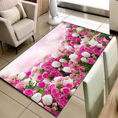 Else Pink White Tulips Roses Garden Flowers 3d Print Non Slip Microfiber Living Room Decorative Modern Washable Area Rug Mat