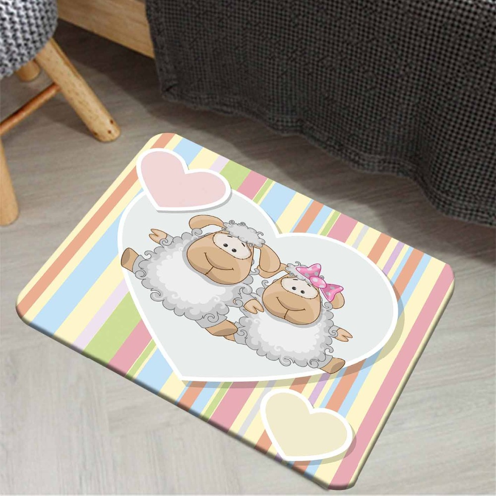 Else Blue Pink Yellow Lines Funny Lamps Hearts 3d Cartoon Print Anti Slip Doormat Home Decor Entryway Kids Children Room Mat