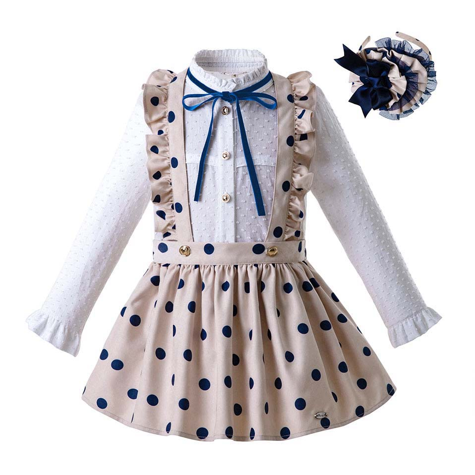 Pre Sale  Autumn Dot Baby Girls Clothing Set Long Sleeve Blouse With Khaki Skirt Children Outfits With Headwear G DMCS107 B372-in Clothing Sets from Mother & Kids
