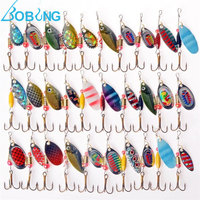 Bobing 30Pcs Lot Fishing Lures Iron Hard Spoon Lures Spinners Multiple Colors Fish Lure Baits Set