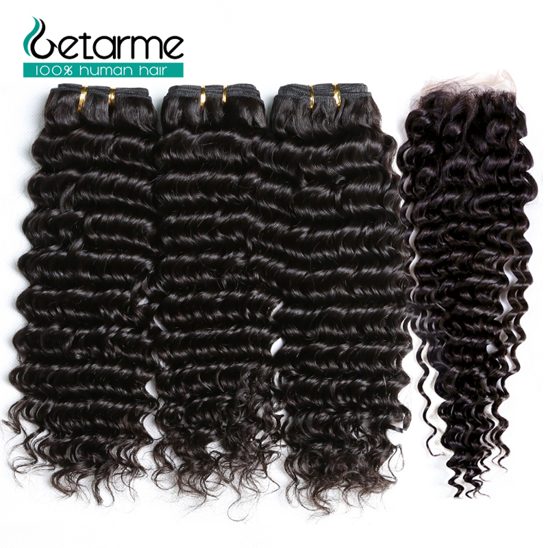 3 Bundles Deep Wave Hair With 4*4 Lace Closure Malaysian Human Hair Weave 3 Bundles With Closure Getarme Non Remy Hair