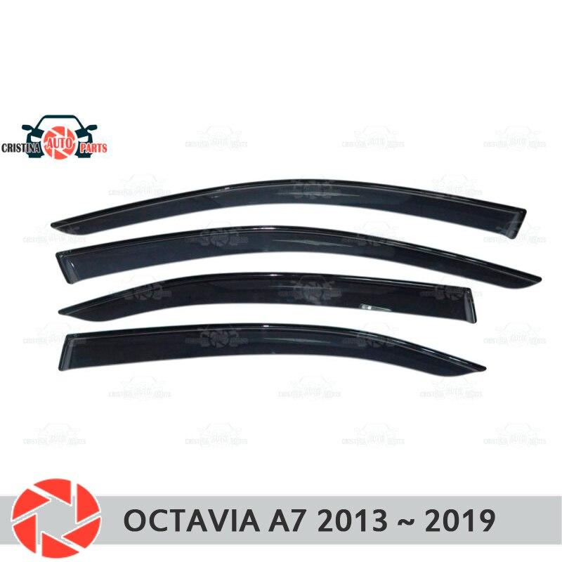 Déflecteur de fenêtre pour Skoda Octavia A7 2013 ~ 2018 déflecteur de pluie protection contre la saleté accessoires de décoration de voiture moulage