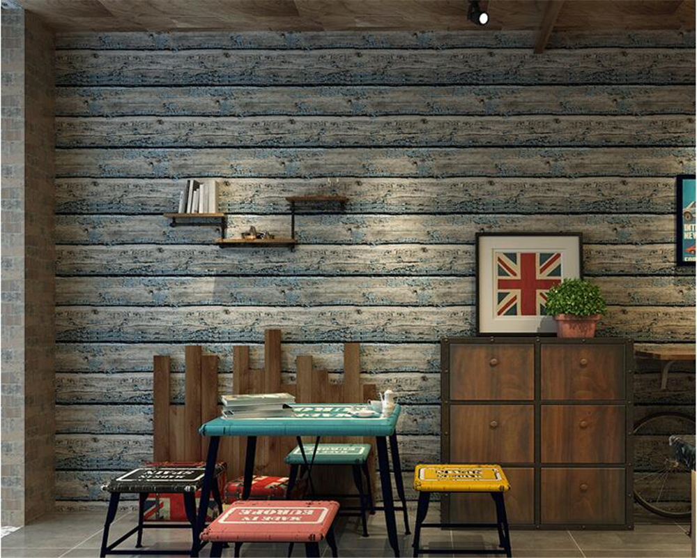 beibehang Retro Classic Chinese Wooden Wall paper Barber Shop Apparel Horizontal Striped Fashion papel de parede 3d Wallpaper