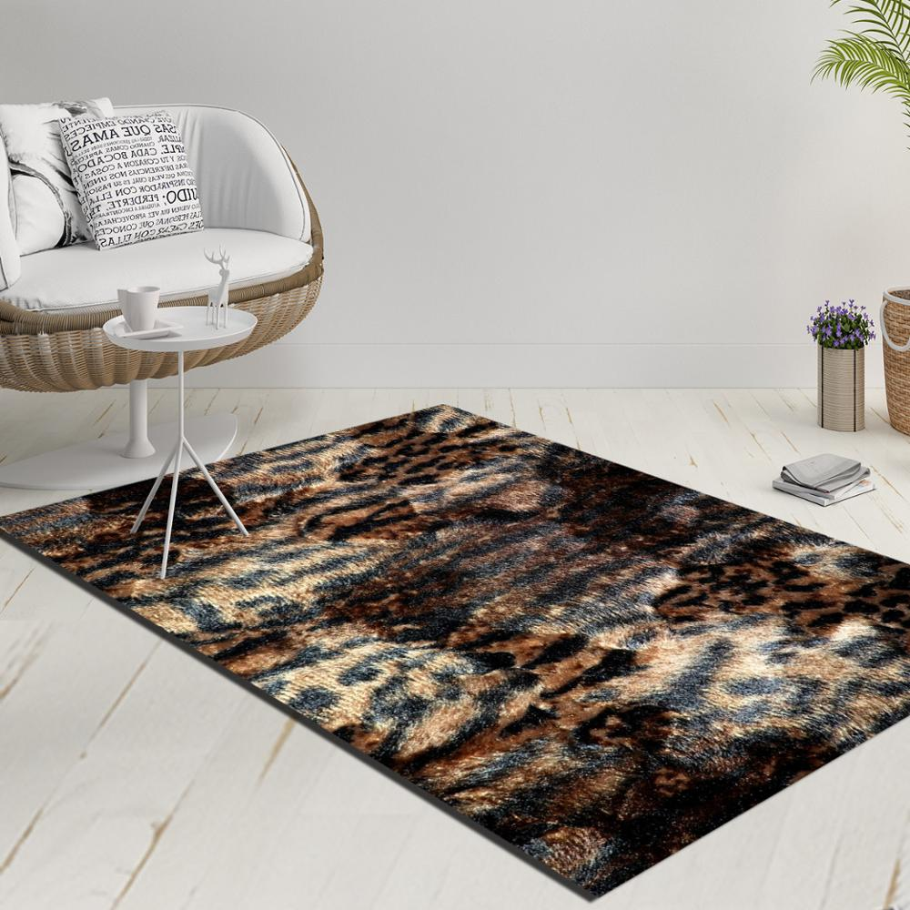 Else Brown Black Aging Vintage Leopard Fur Decorative 3d Print Anti Slip Kilim Washable Decorative Kilim Rug Modern Carpet