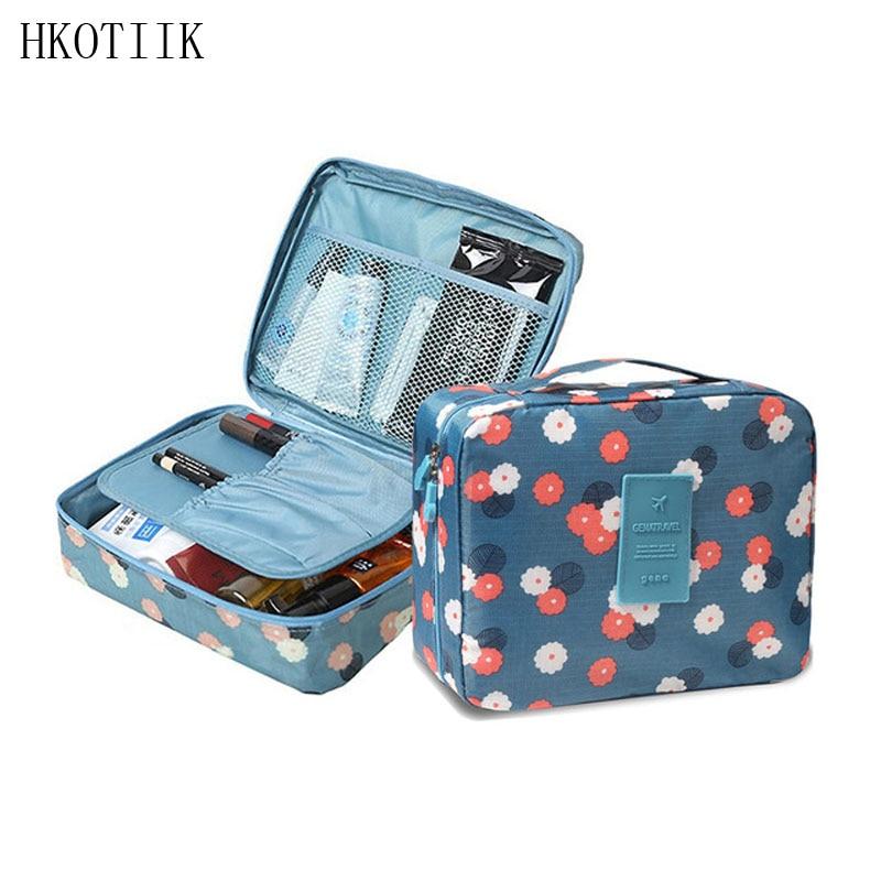 HKOTIIK Brand Beautician Nylon Waterproof Cosmetic Bag Men Women Cosmetics Cosmetic Bag Organizer Travel Storage Bag multifunction nylon pet storage bag cosmetic bag pink grey