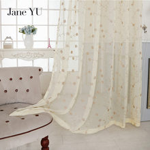 все цены на JaneYU 2019 acquard floral design window curtain sheer for bedroom tulle fabrics living room modern design ready