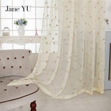 цены JaneYU 2019 acquard floral design window curtain sheer for bedroom tulle fabrics living room modern design ready