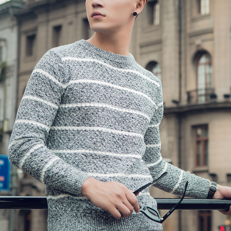 Men's Cotton Knit Sweater Slim Youth  Jacquard Sweater Fashion Color Sweater And Male