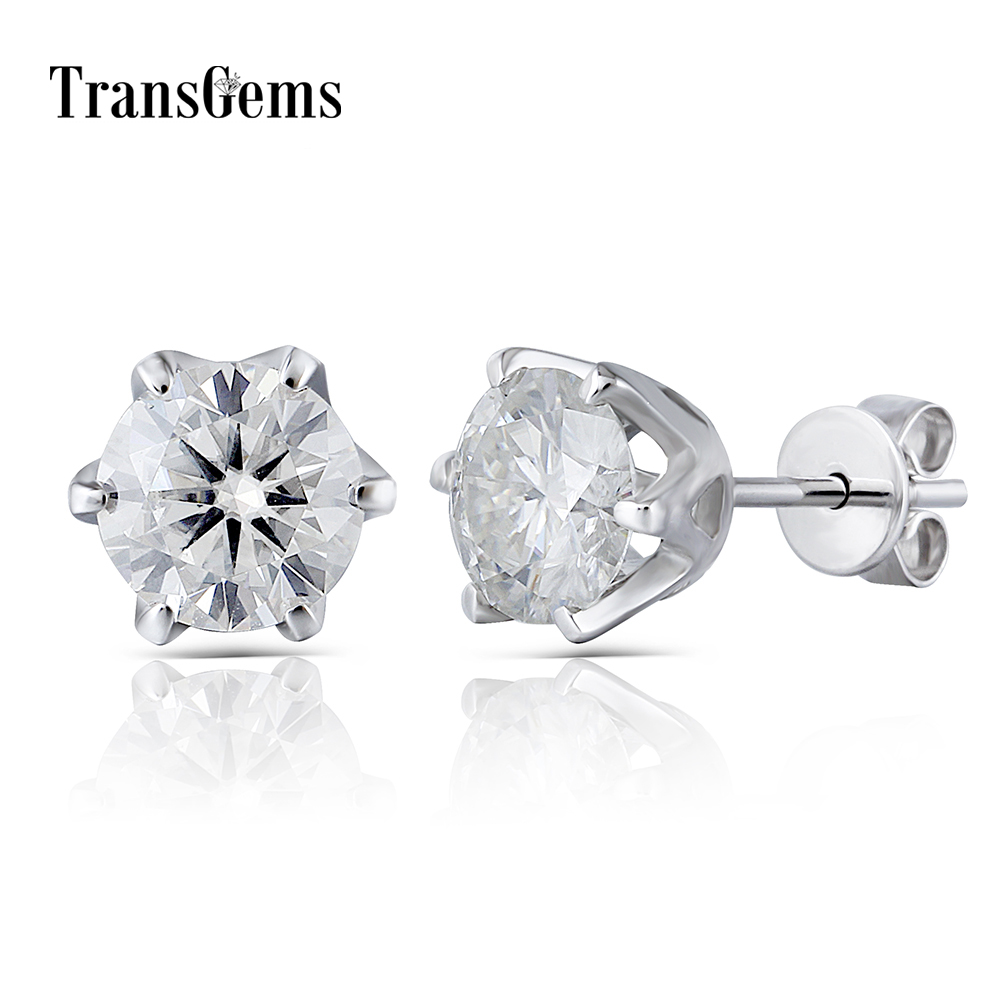 Transgems Ceter 1ct Gold Stud Earrings 6.5MM FG Moissanite Diamond Stud Earrings 14K 585 White Gold for Women pair of stylish rhinestone triangle stud earrings for women
