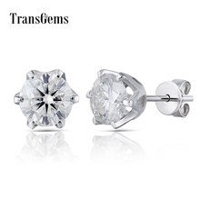 Transgems Ceter 1ct Gold Stud Earrings 6.5MM FG Moissanite Diamond Stud Earrings 14K 585 White Gold for Women warframe school bag noctilucous backpack student school bag notebook backpack daily backpack