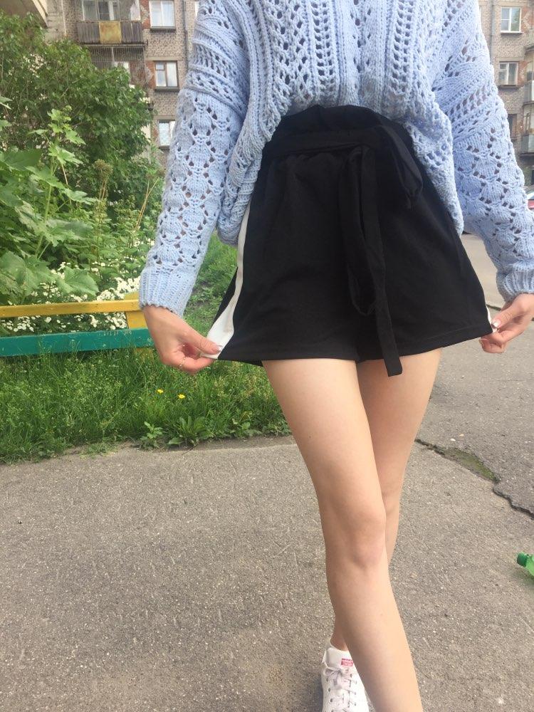 SweatyRocks Cut And Sew Frill Waist Shorts 2018 Summer High Waist Belt Casual Shorts Women Black Colorblock Sporting Shorts