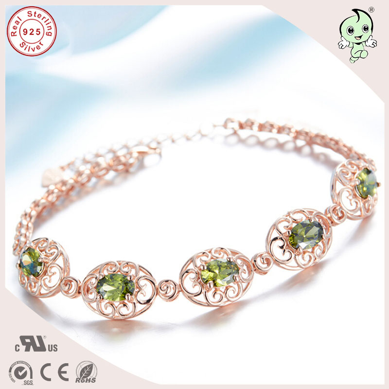 High Quality Beautiful Gift Pink Gold Silver Jewelry Olive Colour Stone 925 Real Silver Bracelet For Lady
