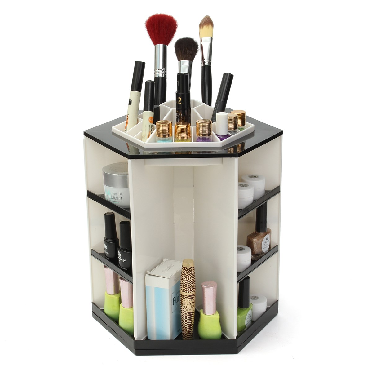 360 Degree Rotating Professional Cosmetic Makeup Organizer Make Up Storage Display Cosmetics Stand Holder For Makeup Brush ems free shipping 3d photo shop display rotating turntable 360 degree mannequin photography stand
