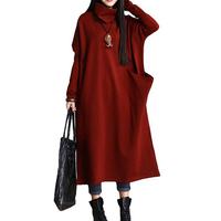 Women Winter Autumn ZANZEA L 5XL Plus Size Loose Trutleneck Long Sleeve Batwing Maxi Shirt Dress