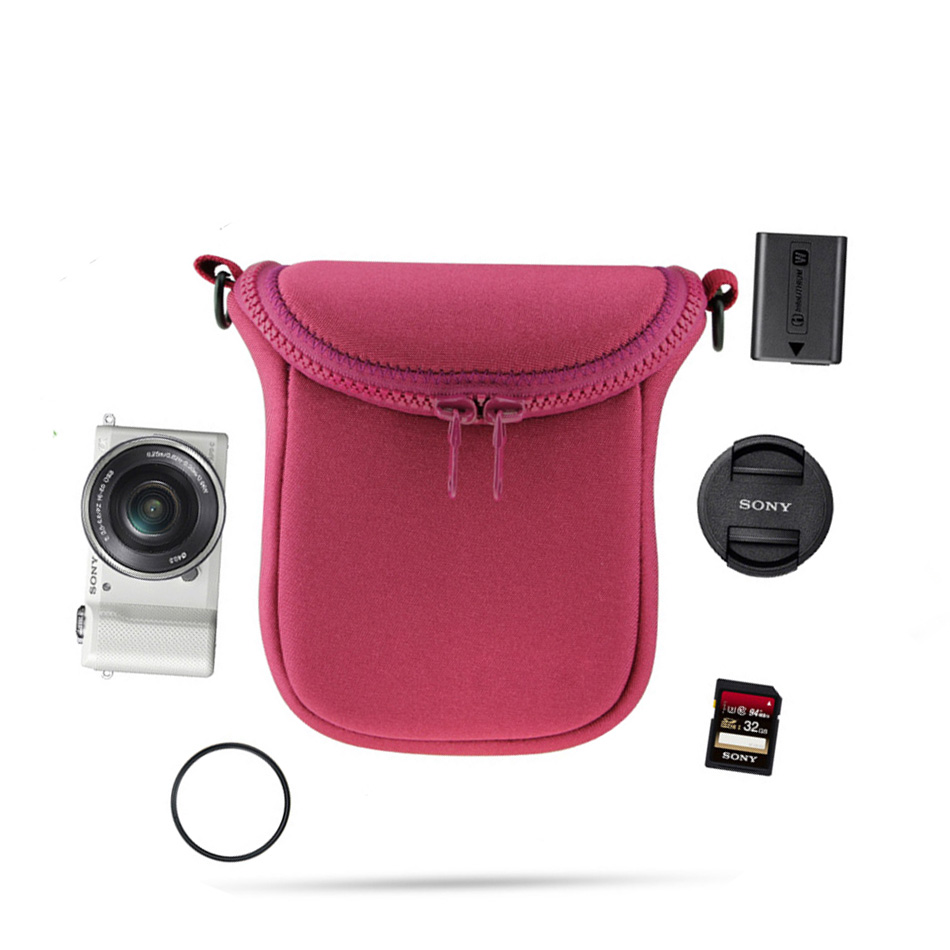 Bolso de la cámara de vídeo para Sony A5000 A6000 A5100 A6300 RX100 RX1R NEX-5T NEX-5N NEX-5R NEX-6 NEX-7 NEX-F3 3N HX50 + correa