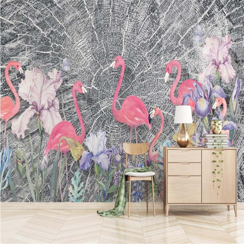 Nordic Mural Wallpapers Pink Firebirds Wallpaper for Walls 3D Wood Textures  Wall Covering Living Room Home Decor Flower TV Wall geography of south africa mural wallpaper 3d in european style living room tv wall background 3d wallpapers for walls