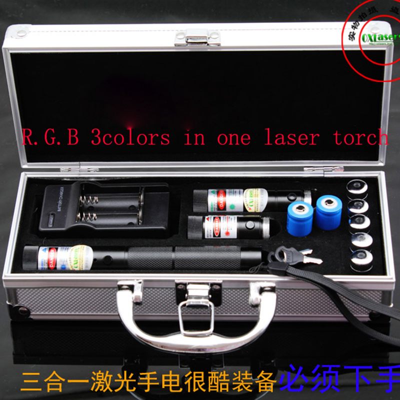 цена на OXLasers OX-RGB301 metal cased 3 in 1 focusable BURNING laser kit with 3000m blue laser light cigars free shipping