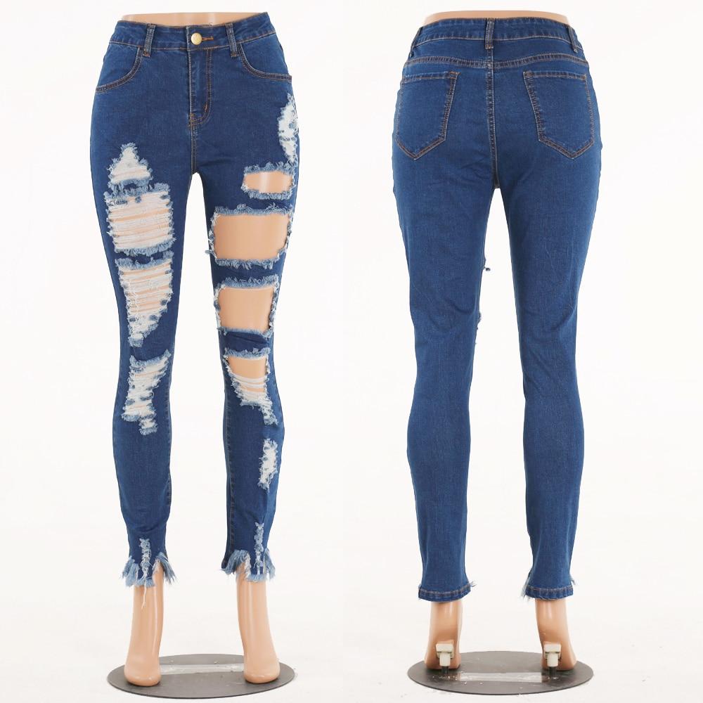 High-Grade Ladies Big Size Tight Solid Wild Joker Jeans Jeans Hole Burrs Slim Comfortable Elastic Feet Pants Pants Feet Flash
