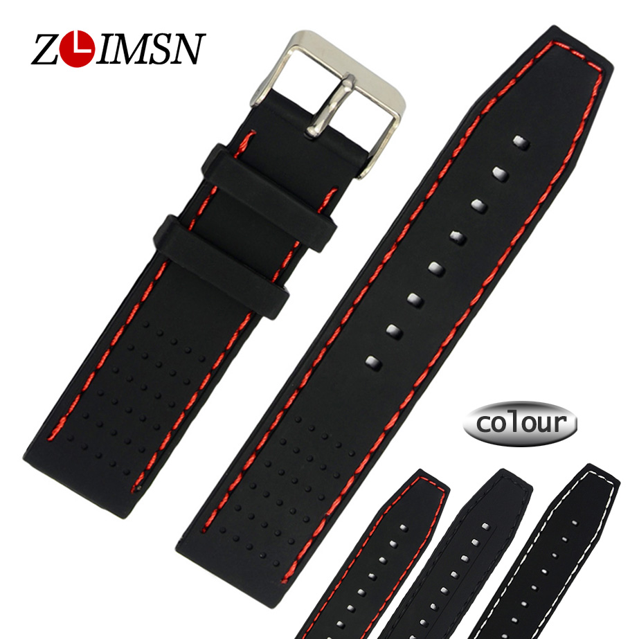 22mm Sport WatchBands Black With Red Stitched Waterproof Diving Silicone Rubber Watch Strap Bracelets Relojes Hombre 2017 20mm watch band strap watchbands for men s women sport diving silicone rubber black blue silver buckle relojes hombre