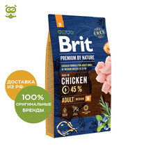 Корм Brit Premium by Nature Adult M для взрослых собак средних пород, Курица, 8 кг
