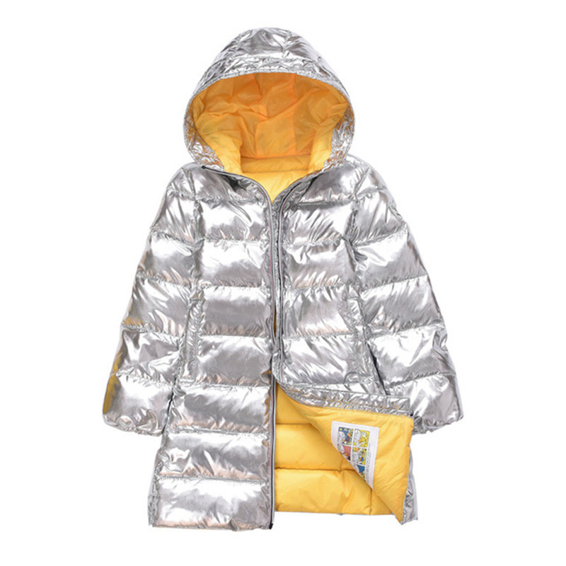Angeltree Girls Jackets For Silver Boys Children s Winter Down Clothing Kid Hooded Padded Jacket Parka